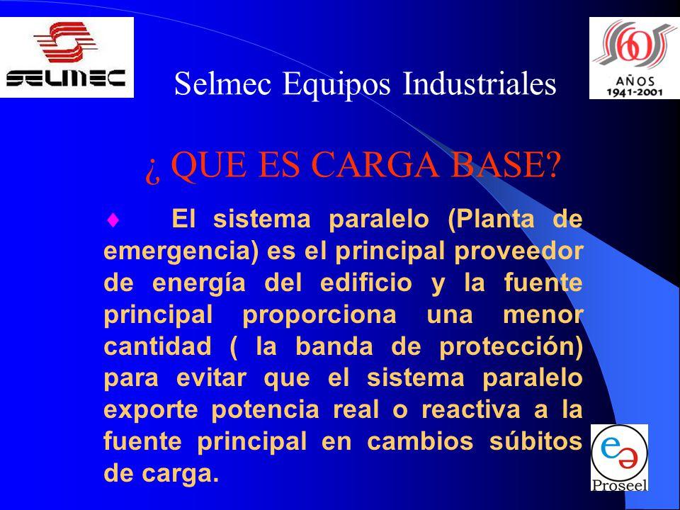 Selmec Equipos Industriales ¿ QUE ES CARGA BASE? El sistema paralelo (Planta de emergencia) es el principal proveedor de energía del edificio y la fue