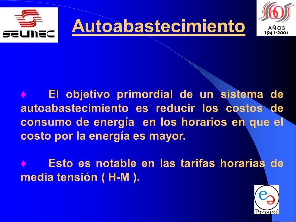 Autoabastecimiento El objetivo primordial de un sistema de autoabastecimiento es reducir los costos de consumo de energía en los horarios en que el co