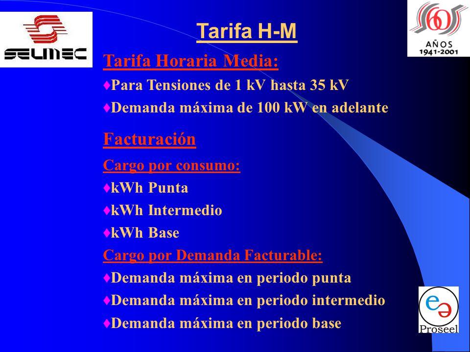 Tarifa H-M Tarifa Horaria Media: Para Tensiones de 1 kV hasta 35 kV Demanda máxima de 100 kW en adelante Facturación Cargo por consumo: kWh Punta kWh Intermedio kWh Base Cargo por Demanda Facturable: Demanda máxima en periodo punta Demanda máxima en periodo intermedio Demanda máxima en periodo base