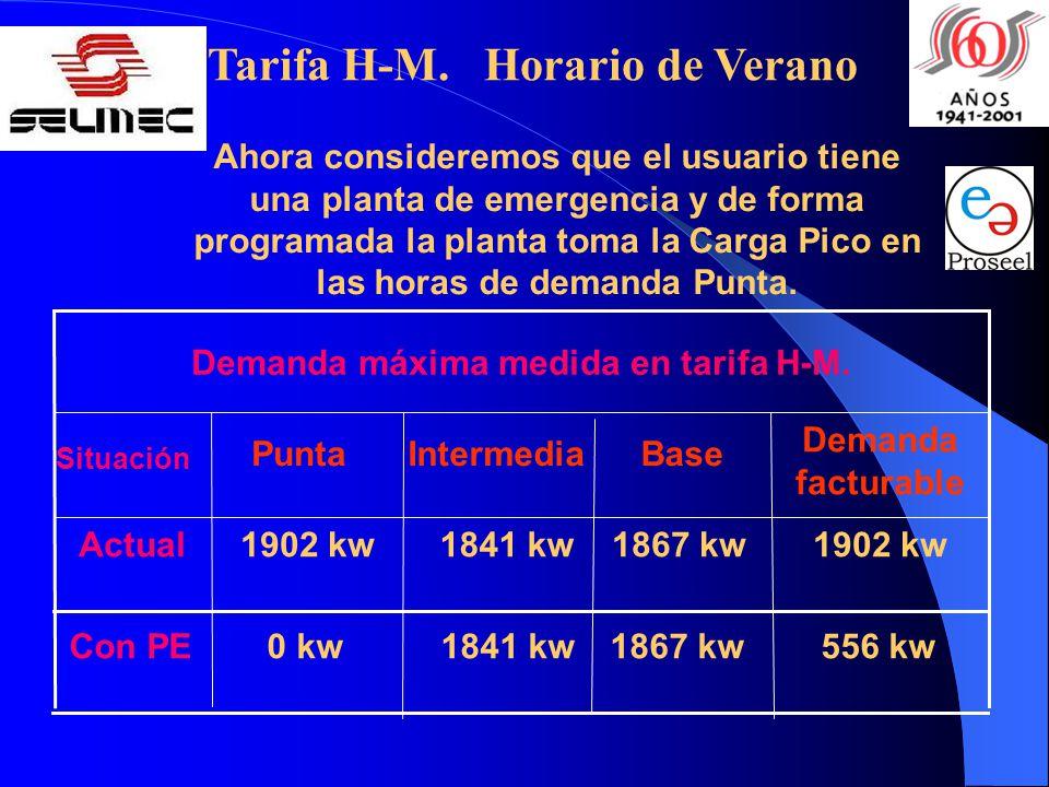 Ahora consideremos que el usuario tiene una planta de emergencia y de forma programada la planta toma la Carga Pico en las horas de demanda Punta.