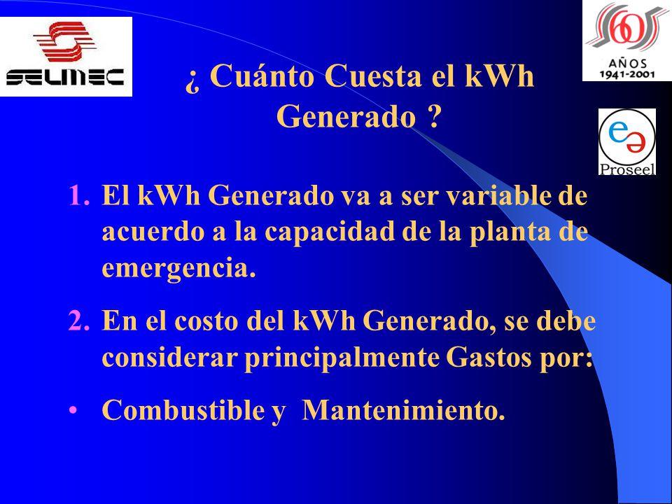 ¿ Cuánto Cuesta el kWh Generado ? 1.El kWh Generado va a ser variable de acuerdo a la capacidad de la planta de emergencia. 2.En el costo del kWh Gene
