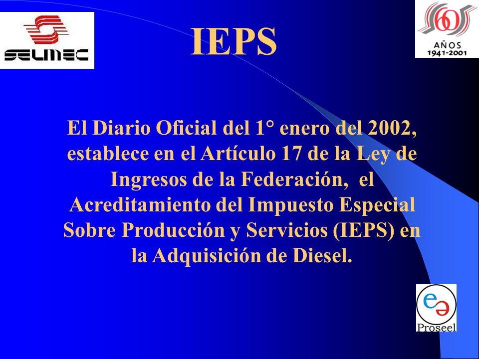 IEPS El Diario Oficial del 1° enero del 2002, establece en el Artículo 17 de la Ley de Ingresos de la Federación, el Acreditamiento del Impuesto Especial Sobre Producción y Servicios (IEPS) en la Adquisición de Diesel.