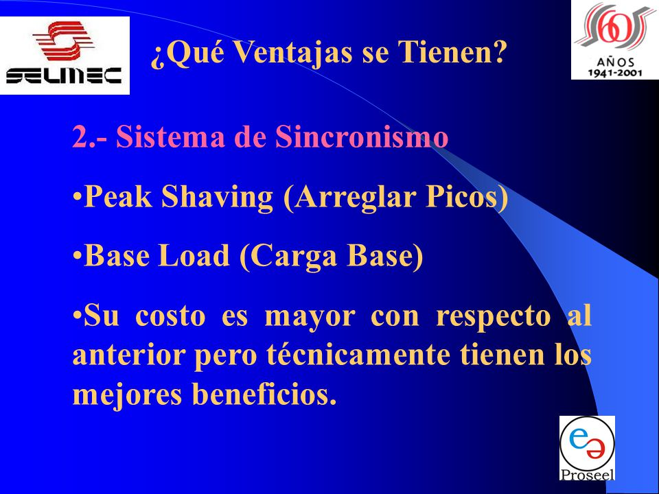 ¿Qué Ventajas se Tienen? 2.- Sistema de Sincronismo Peak Shaving (Arreglar Picos) Base Load (Carga Base) Su costo es mayor con respecto al anterior pe