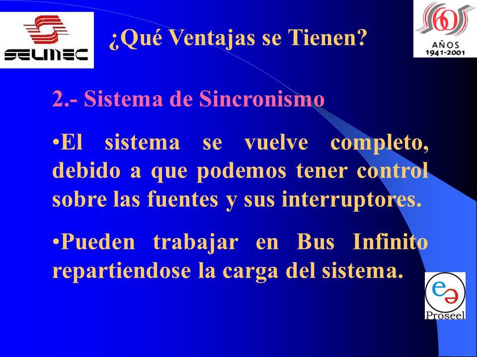 ¿Qué Ventajas se Tienen? 2.- Sistema de Sincronismo El sistema se vuelve completo, debido a que podemos tener control sobre las fuentes y sus interrup