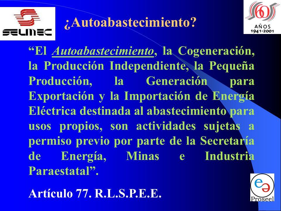 ¿Autoabastecimiento? El Autoabastecimiento, la Cogeneración, la Producción Independiente, la Pequeña Producción, la Generación para Exportación y la I