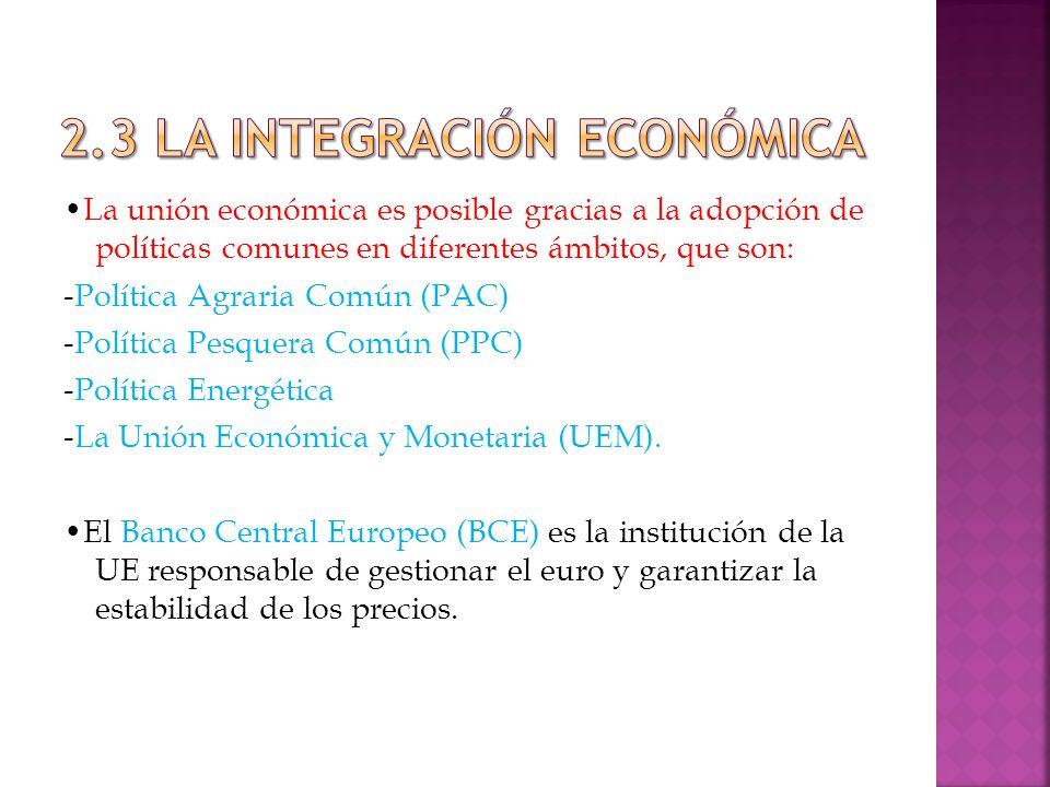La unión económica es posible gracias a la adopción de políticas comunes en diferentes ámbitos, que son: -Política Agraria Común (PAC) -Política Pesquera Común (PPC) -Política Energética -La Unión Económica y Monetaria (UEM).
