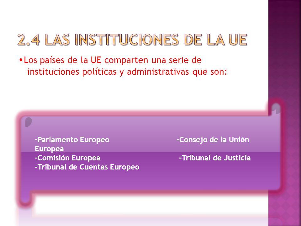 Los países de la UE comparten una serie de instituciones políticas y administrativas que son: