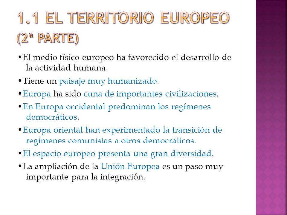 El medio físico europeo ha favorecido el desarrollo de la actividad humana.