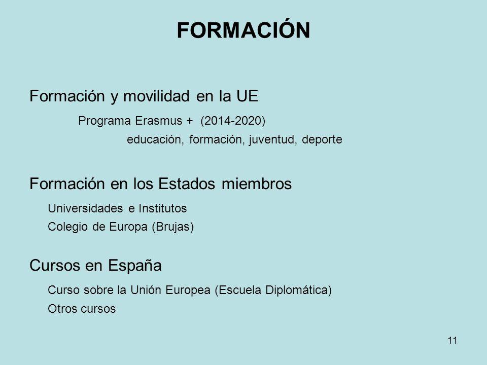 FORMACIÓN Formación y movilidad en la UE Programa Erasmus + (2014-2020) educación, formación, juventud, deporte Formación en los Estados miembros Univ