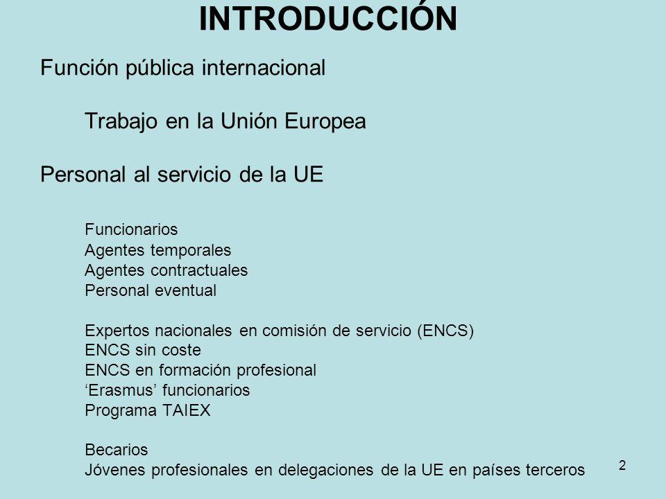 INTRODUCCIÓN Función pública internacional Trabajo en la Unión Europea Personal al servicio de la UE Funcionarios Agentes temporales Agentes contractu
