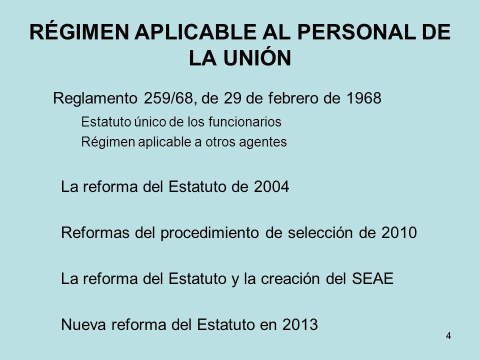 RÉGIMEN APLICABLE AL PERSONAL DE LA UNIÓN Reglamento 259/68, de 29 de febrero de 1968 Estatuto único de los funcionarios Régimen aplicable a otros age