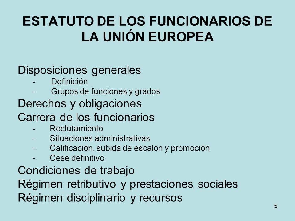 ESTATUTO DE LOS FUNCIONARIOS DE LA UNIÓN EUROPEA Disposiciones generales - Definición - Grupos de funciones y grados Derechos y obligaciones Carrera d
