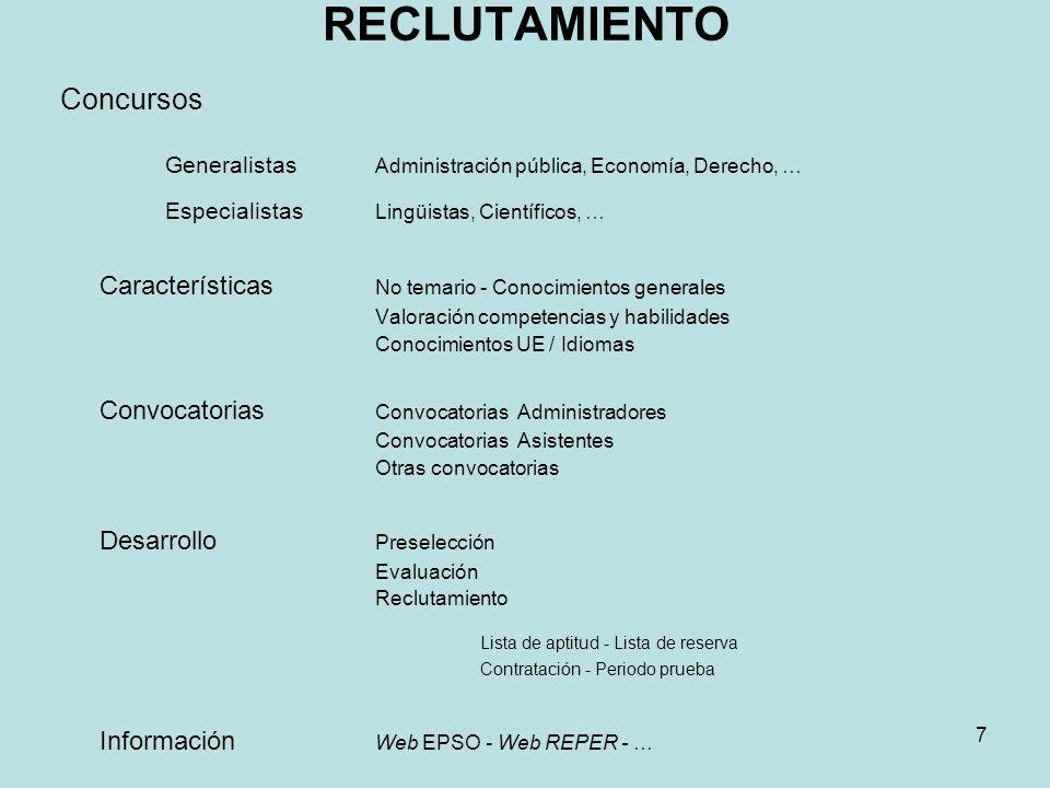 RECLUTAMIENTO Concursos Generalistas Administración pública, Economía, Derecho, … Especialistas Lingüistas, Científicos, … Características No temario