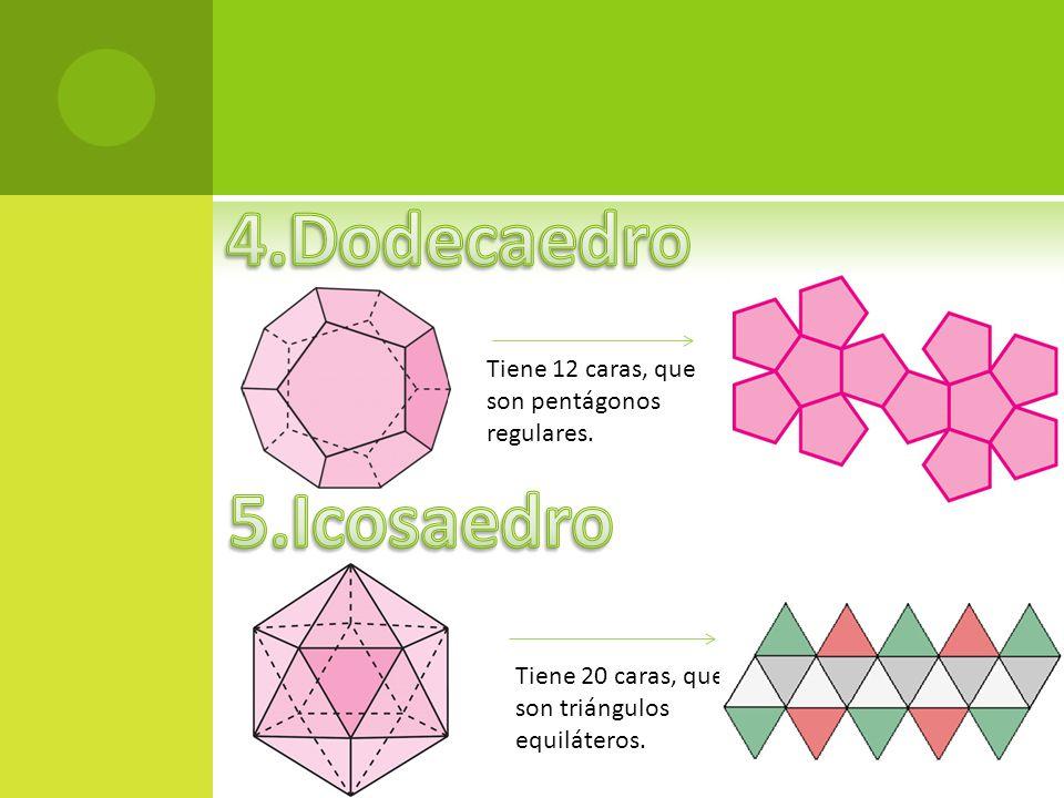 Tiene 12 caras, que son pentágonos regulares. Tiene 20 caras, que son triángulos equiláteros.