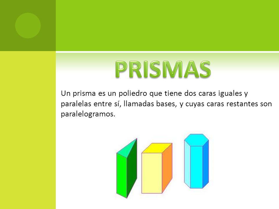 Un prisma es un poliedro que tiene dos caras iguales y paralelas entre sí, llamadas bases, y cuyas caras restantes son paralelogramos.