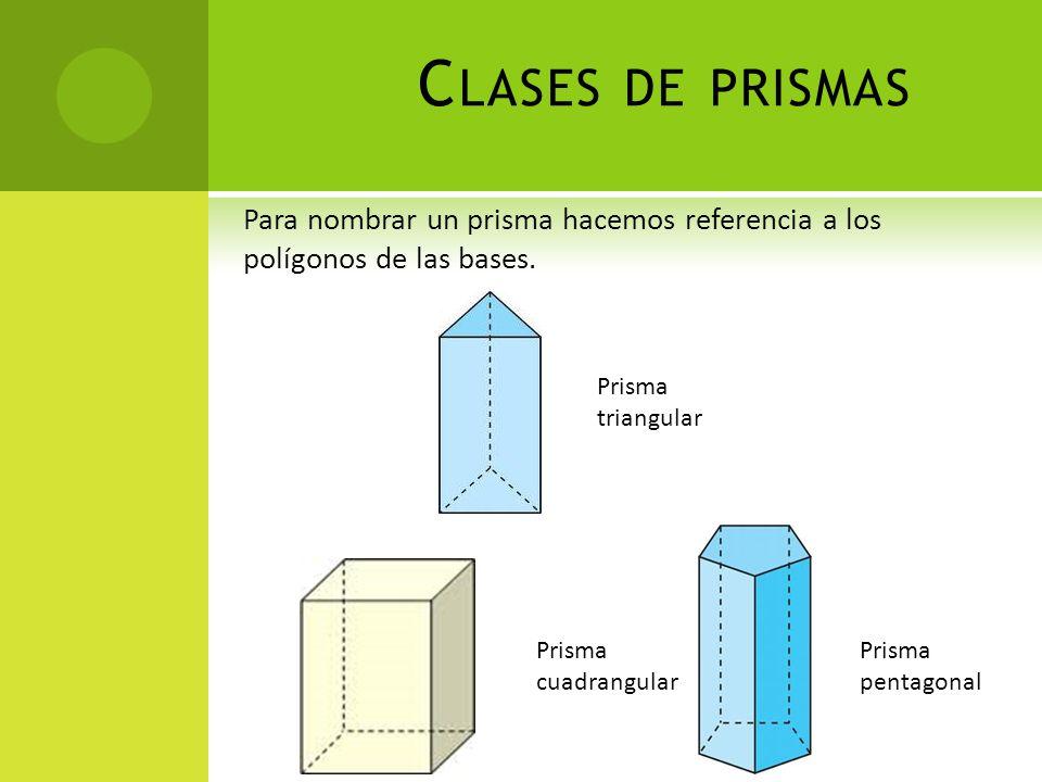 C LASES DE PRISMAS Para nombrar un prisma hacemos referencia a los polígonos de las bases. Prisma triangular Prisma cuadrangular Prisma pentagonal