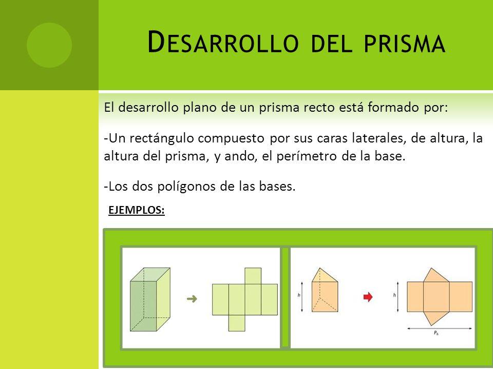 D ESARROLLO DEL PRISMA El desarrollo plano de un prisma recto está formado por: -Un rectángulo compuesto por sus caras laterales, de altura, la altura del prisma, y ando, el perímetro de la base.