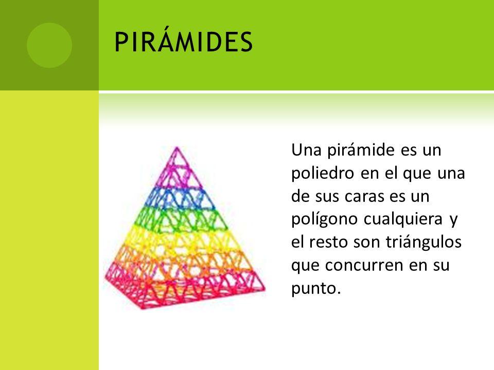 PIRÁMIDES Una pirámide es un poliedro en el que una de sus caras es un polígono cualquiera y el resto son triángulos que concurren en su punto.
