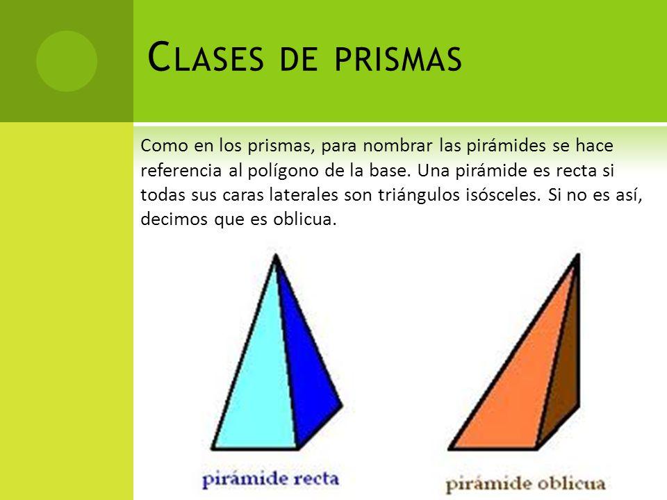 C LASES DE PRISMAS Como en los prismas, para nombrar las pirámides se hace referencia al polígono de la base. Una pirámide es recta si todas sus caras