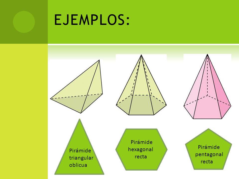 EJEMPLOS: Pirámide triangular oblicua Pirámide hexagonal recta Pirámide pentagonal recta