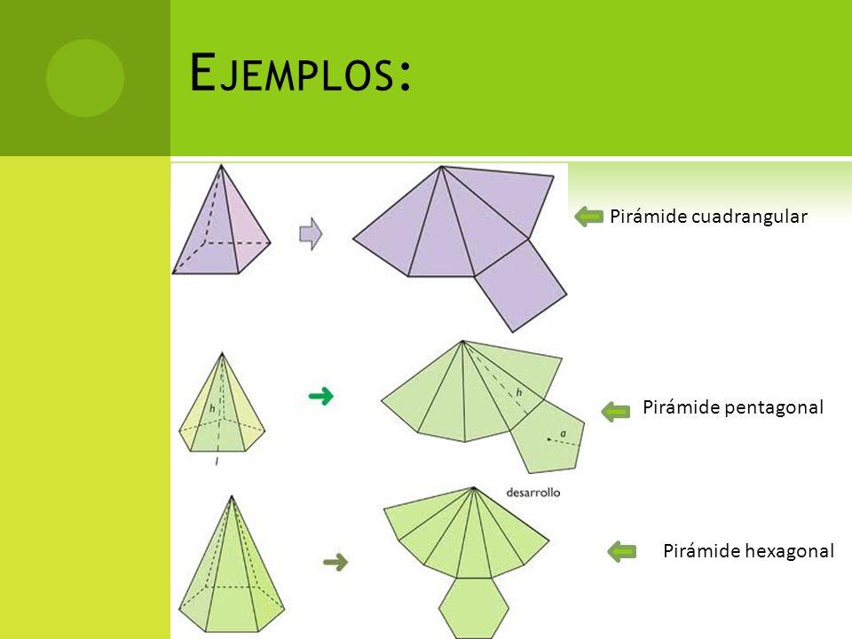 E JEMPLOS : Pirámide cuadrangular Pirámide pentagonal Pirámide hexagonal