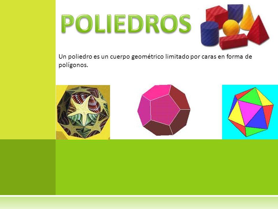 Un poliedro es un cuerpo geométrico limitado por caras en forma de polígonos.
