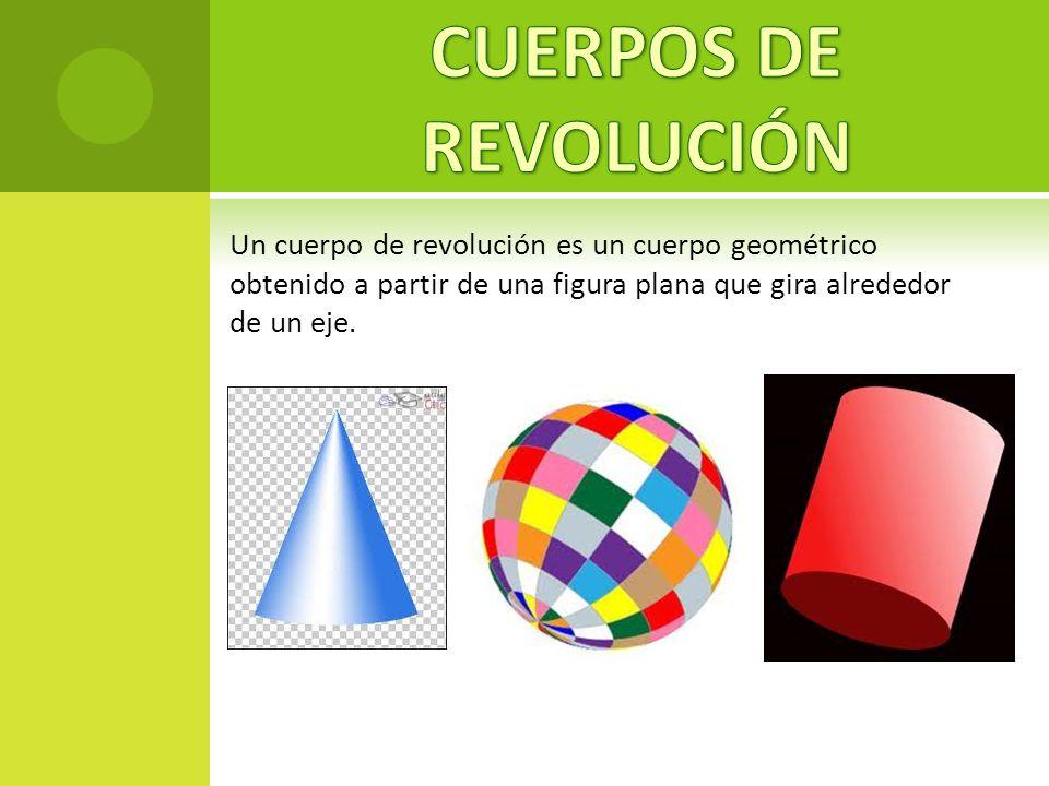 Un cuerpo de revolución es un cuerpo geométrico obtenido a partir de una figura plana que gira alrededor de un eje.
