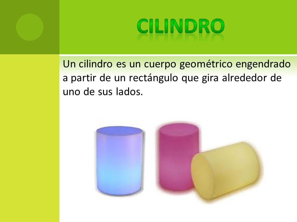 Un cilindro es un cuerpo geométrico engendrado a partir de un rectángulo que gira alrededor de uno de sus lados.