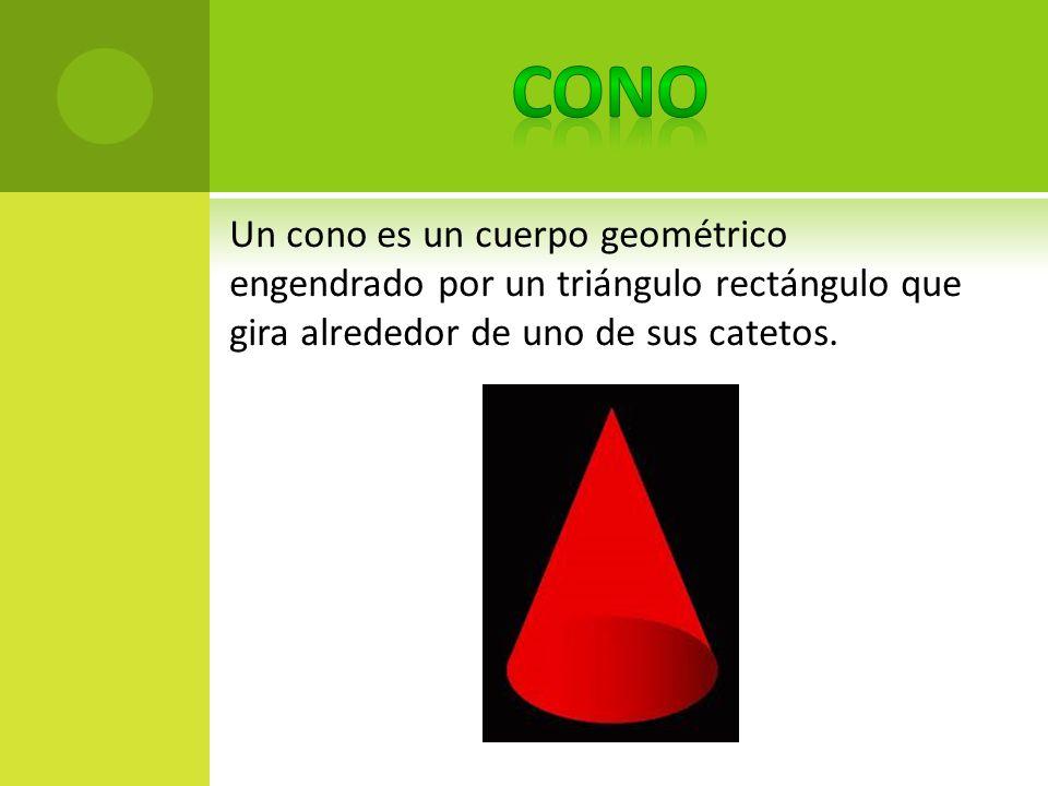 Un cono es un cuerpo geométrico engendrado por un triángulo rectángulo que gira alrededor de uno de sus catetos.
