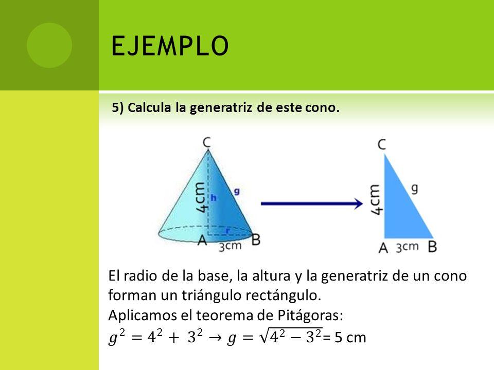 EJEMPLO 5) Calcula la generatriz de este cono.