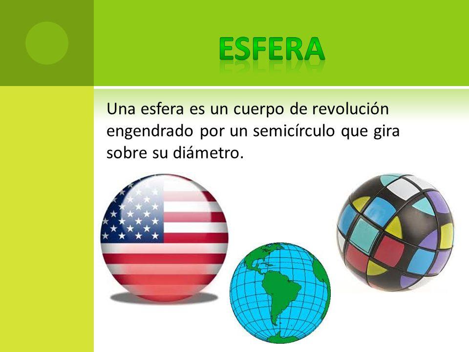 Una esfera es un cuerpo de revolución engendrado por un semicírculo que gira sobre su diámetro.