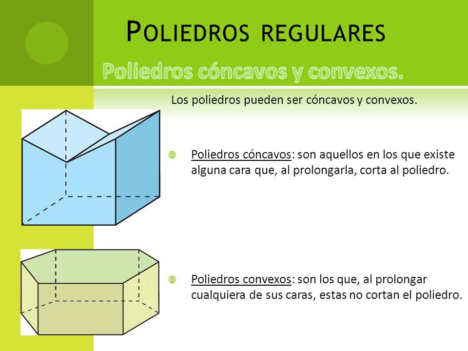 P OLIEDROS REGULARES Los poliedros pueden ser cóncavos y convexos. Poliedros cóncavos: son aquellos en los que existe alguna cara que, al prolongarla,