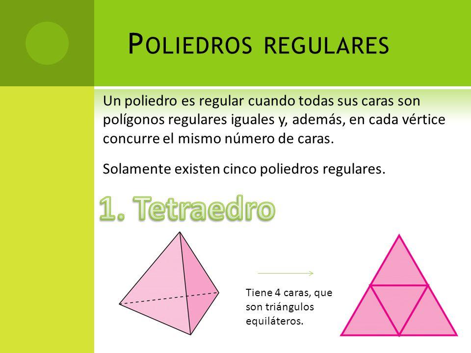 P OLIEDROS REGULARES Un poliedro es regular cuando todas sus caras son polígonos regulares iguales y, además, en cada vértice concurre el mismo número de caras.