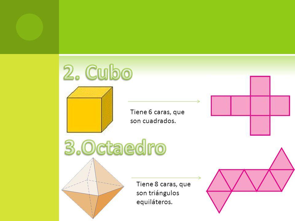 Tiene 6 caras, que son cuadrados. Tiene 8 caras, que son triángulos equiláteros.