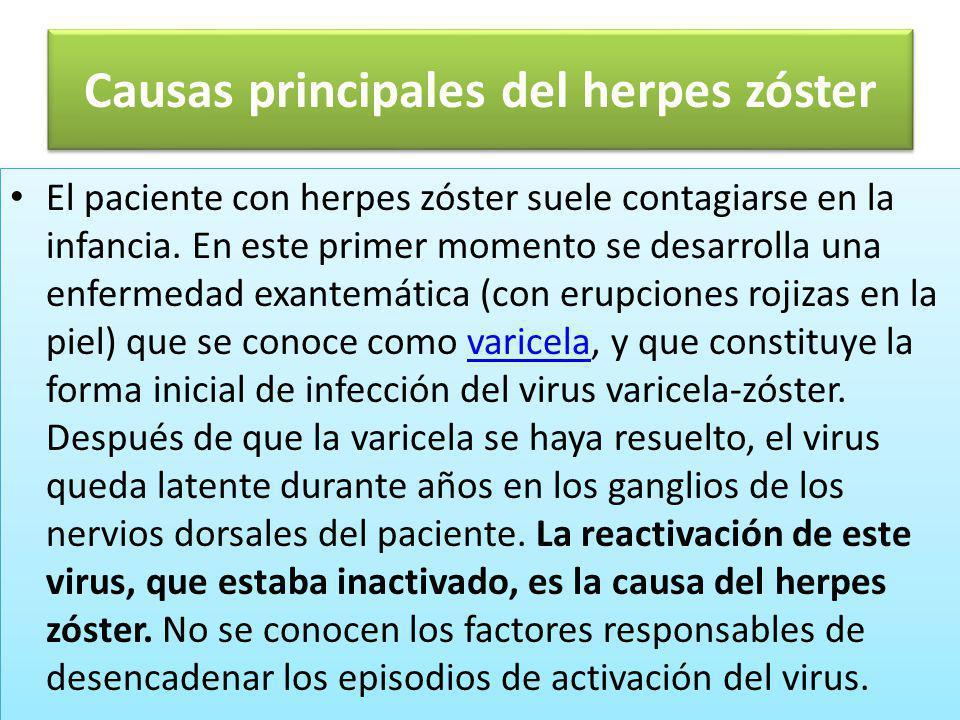 Causas principales del herpes zóster El paciente con herpes zóster suele contagiarse en la infancia. En este primer momento se desarrolla una enfermed