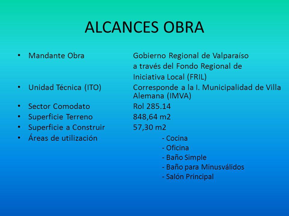 ALCANCES OBRA Mandante ObraGobierno Regional de Valparaíso a través del Fondo Regional de Iniciativa Local (FRIL) Unidad Técnica (ITO)Corresponde a la