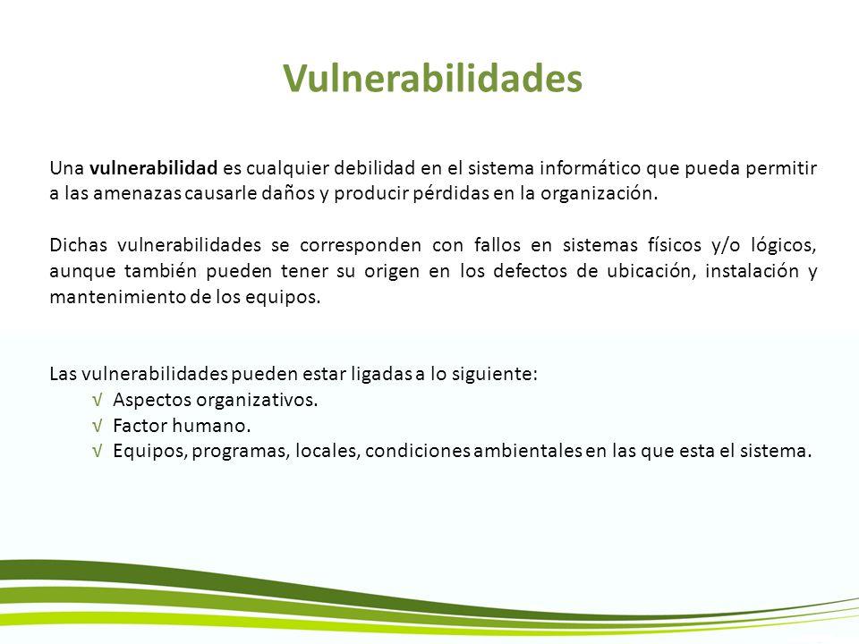 Vulnerabilidades Una vulnerabilidad es cualquier debilidad en el sistema informático que pueda permitir a las amenazas causarle daños y producir pérdi