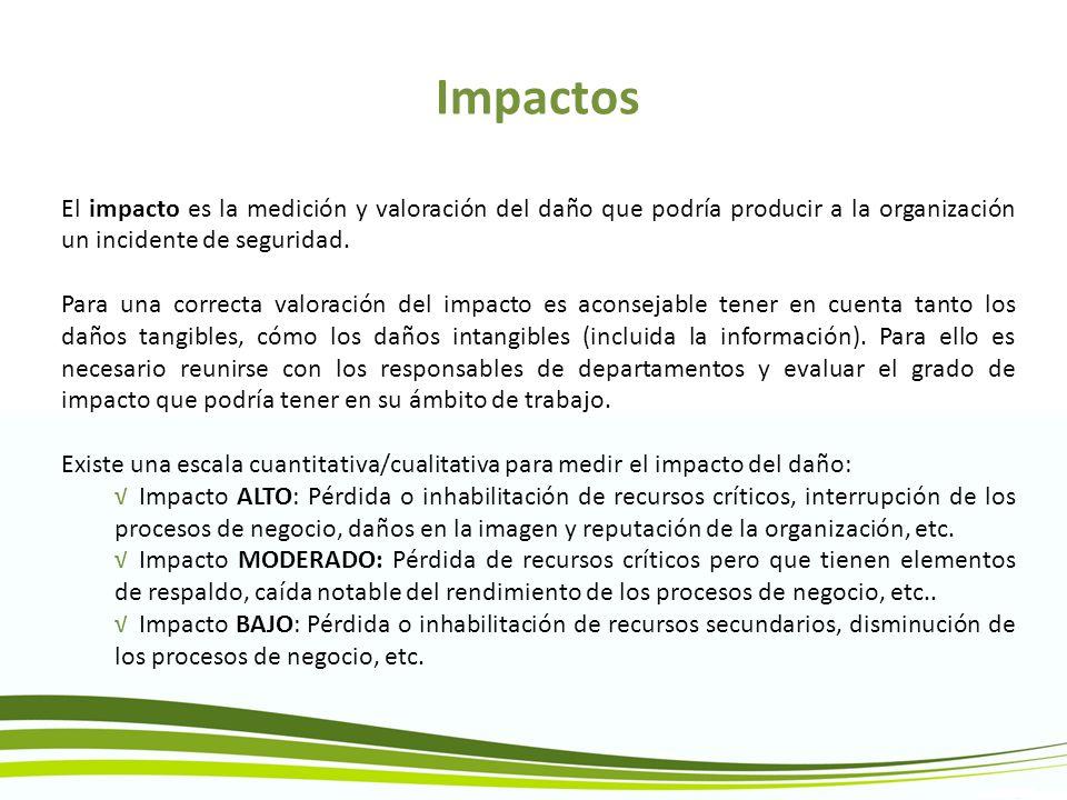 Impactos El impacto es la medición y valoración del daño que podría producir a la organización un incidente de seguridad. Para una correcta valoración