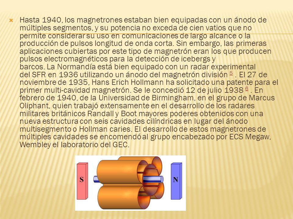 Hasta 1940, los magnetrones estaban bien equipadas con un ánodo de múltiples segmentos, y su potencia no exceda de cien vatios que no permite consider