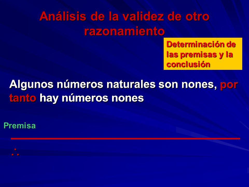 Análisis de la validez de otro razonamiento Algunos números naturales son nones, por tanto hay números nones Determinación de las premisas y la conclu