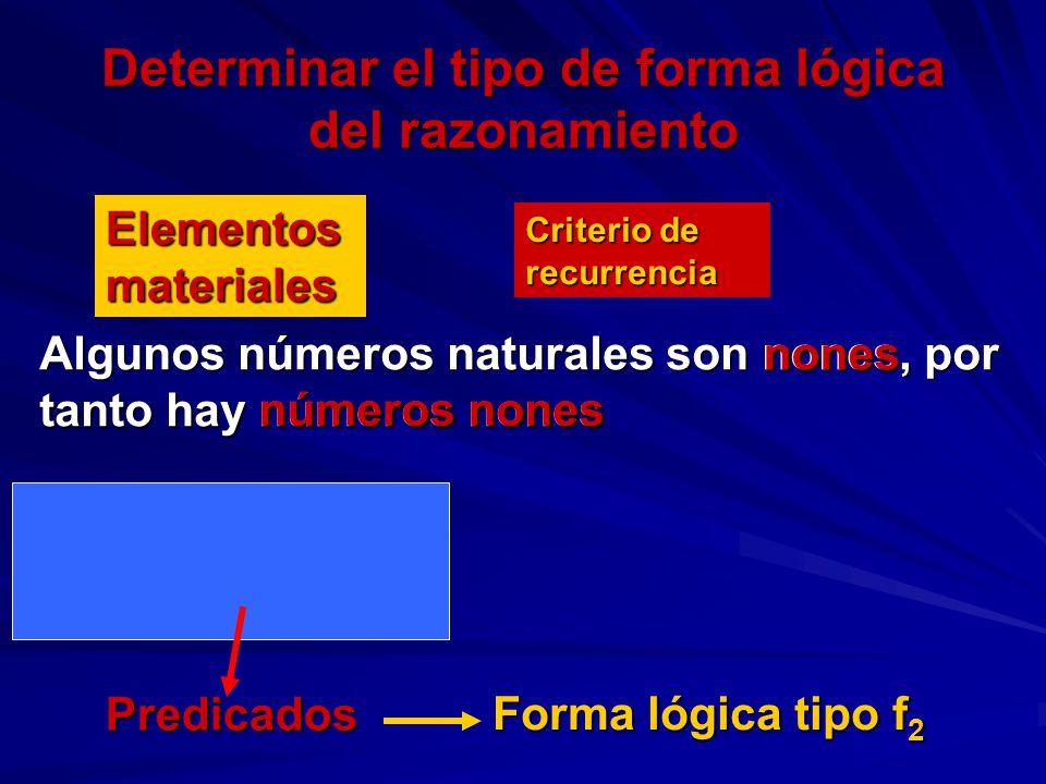 Determinar el tipo de forma lógica del razonamiento Algunos números naturales son nones, por tanto hay números nones Elementos materiales Criterio de