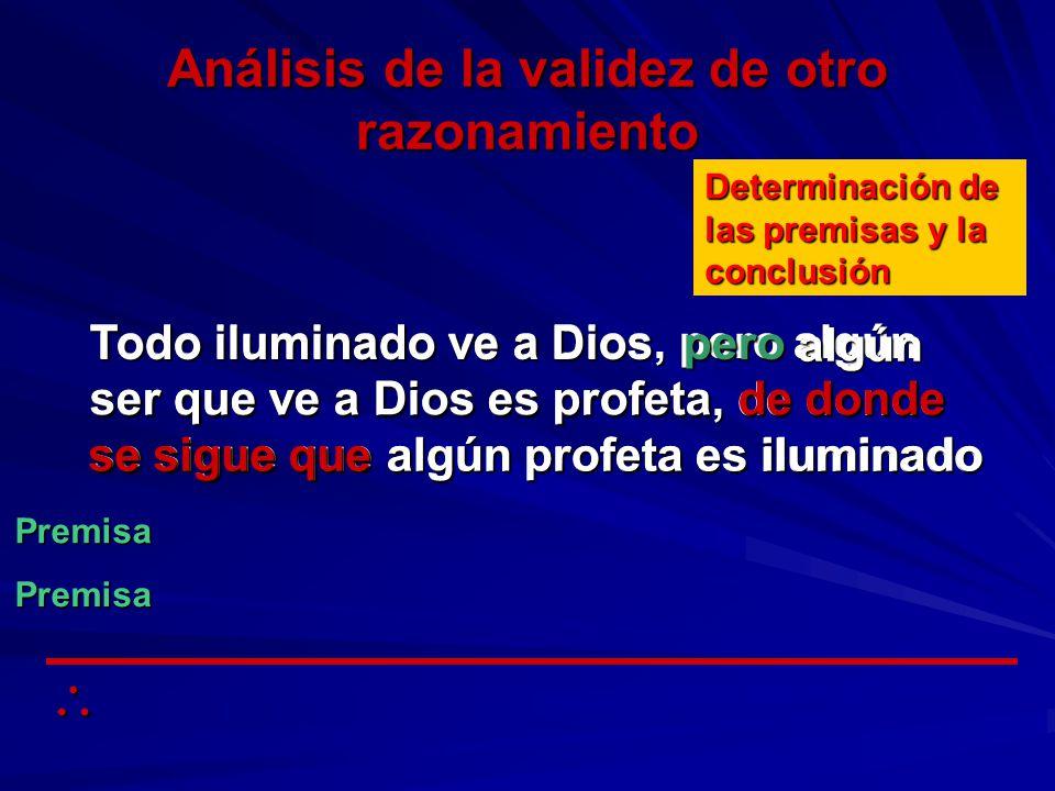 Todo iluminado ve a Dios, pero algún ser que ve a Dios es profeta, de donde se sigue que algún profeta es iluminado Análisis de la validez de otro raz