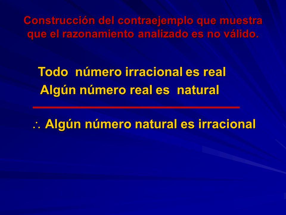 Construcción del contraejemplo que muestra que el razonamiento analizado es no válido. Algún número natural es irracional Algún número natural es irra