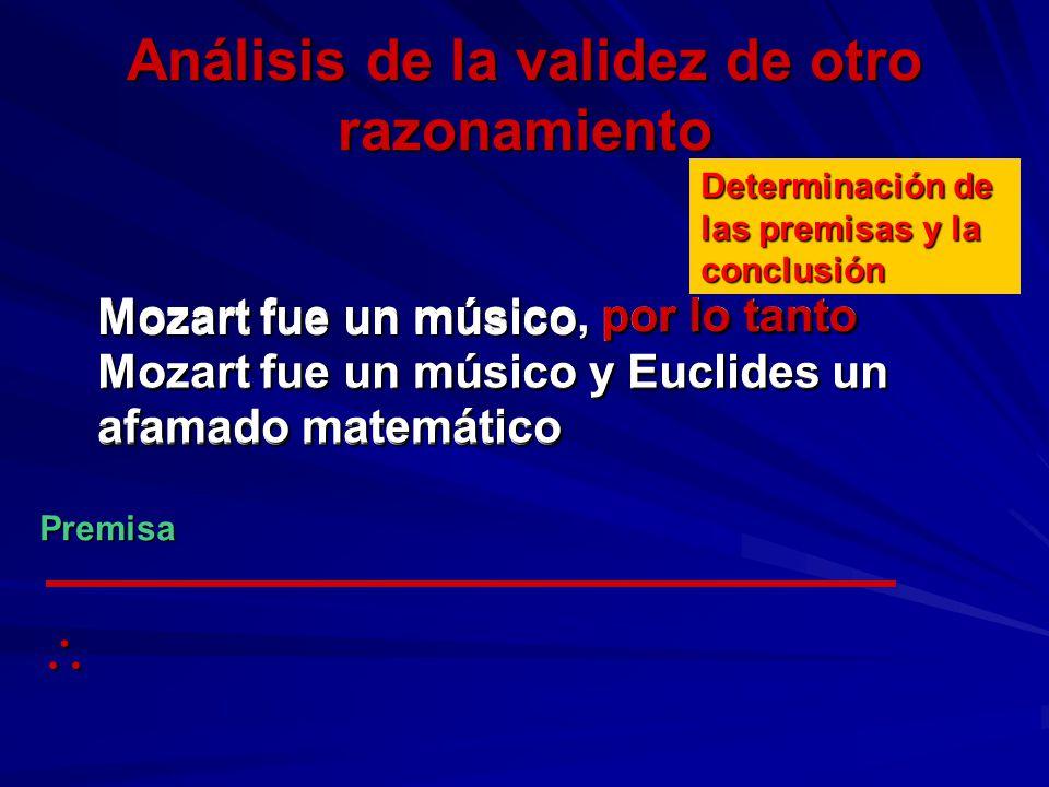 Análisis de la validez de otro razonamiento Mozart fue un músico, por lo tanto Mozart fue un músico y Euclides un afamado matemático Determinación de