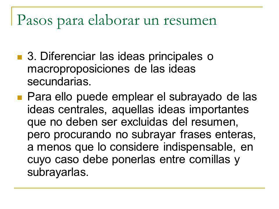Pasos para elaborar un resumen 3. Diferenciar las ideas principales o macroproposiciones de las ideas secundarias. Para ello puede emplear el subrayad