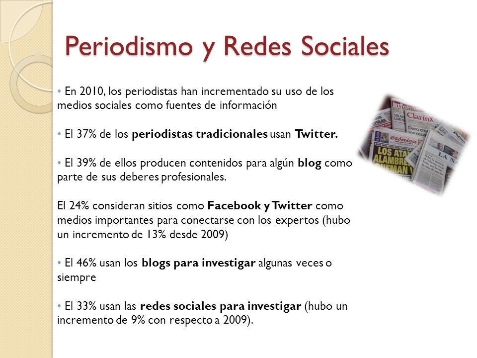 En 2010, los periodistas han incrementado su uso de los medios sociales como fuentes de información El 37% de los periodistas tradicionales usan Twitt
