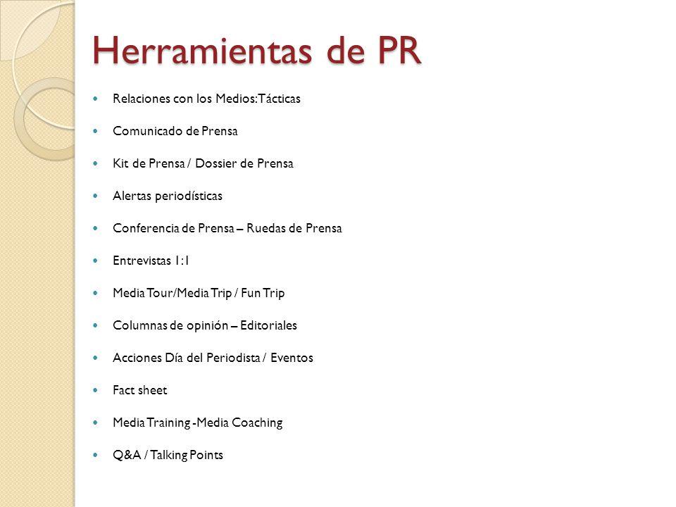 Relaciones con los Medios: Tácticas Comunicado de Prensa Kit de Prensa / Dossier de Prensa Alertas periodísticas Conferencia de Prensa – Ruedas de Pre