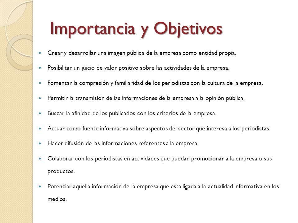 Importancia y Objetivos Crear y desarrollar una imagen pública de la empresa como entidad propia. Posibilitar un juicio de valor positivo sobre las ac