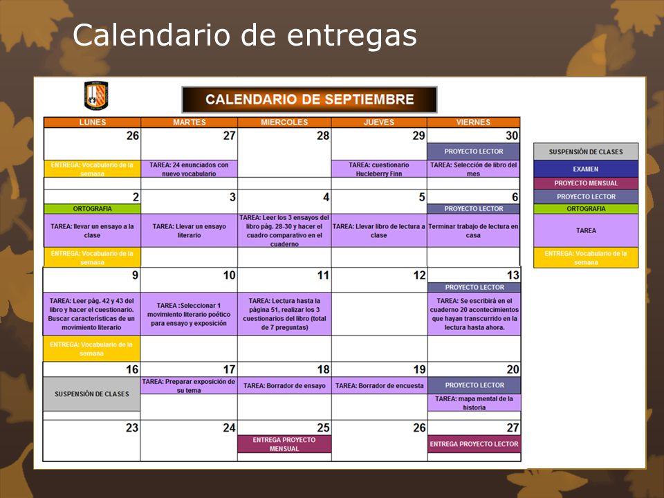 Calendario de entregas
