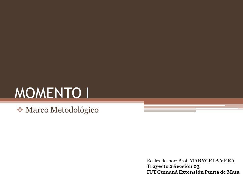 MOMENTO I Marco Metodológico Realizado por: Prof. MARYCELA VERA Trayecto 2 Sección 03 IUT Cumaná Extensión Punta de Mata